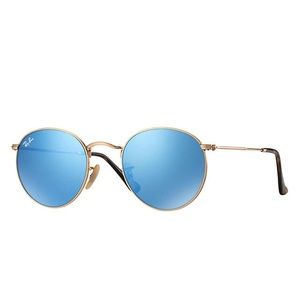 Rayban round flat lens — light blue gradient flash